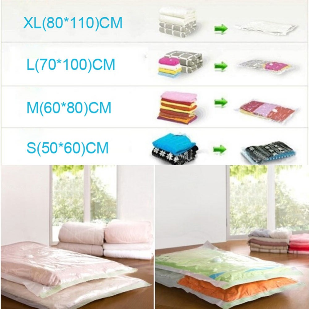 4 Sizes Reusable Vaccum Seal Compressed Bags Organizer Travel Space Saver Storage Bags for Clothes quilt Hand Air Deflation Pump in Storage Bags from Home Garden
