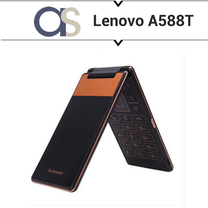 bilder für Neue Original Lenovo A588T Flip Handy Android 4.4 MTK6582 Quad Core 1,3 GHz 512 MB RAM 4G ROM 5.0MP Kamera 4,0 zoll 800*480 P