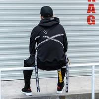 New Stylish Trend Street Punk Full Sleeve Black Ribbons Men's Hooded Sweatshirts Hip Hop Autumn Loose Male Hoodies Streetwear