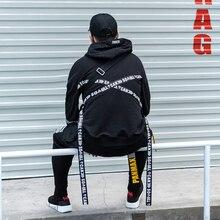 Nieuwe Stijlvolle Trend Straat Punk Volledige Mouw Zwarte Linten mannen Hooded Sweatshirts Hip Hop Herfst Losse Mannelijke Hoodies Streetwear