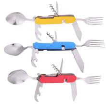Portable Multi-Function Stainless Steel Folding Spoon Fork Knife  3 in 1 Tableware for Outdoor Camping Picnic Travel Tool