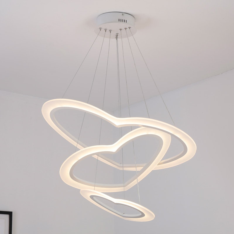Modern Led Pendant Light Fixtures Heart Acrylic Ring Lustre Remote Control Kitchen Dining Room Hanging Lamp Decor Home Lighting in Pendant Lights from Lights Lighting