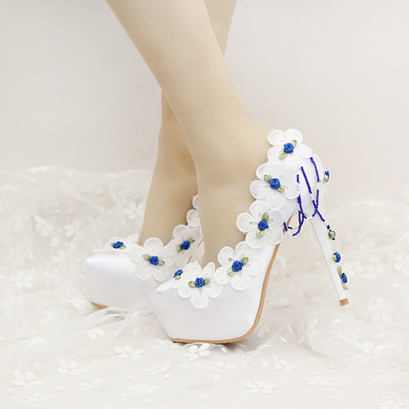 Beautiful White Satin Wedding Shoes with Blue Lace FLower Bridal Shoes Birthday Party Pumps Formal Dress