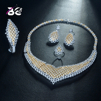 Be 8 Luxury Choker Big Jewelry Set Paved Cubic Zirconia Waterdrops Hotsale Wedding Bridal CZ Sets Engagement Party S321