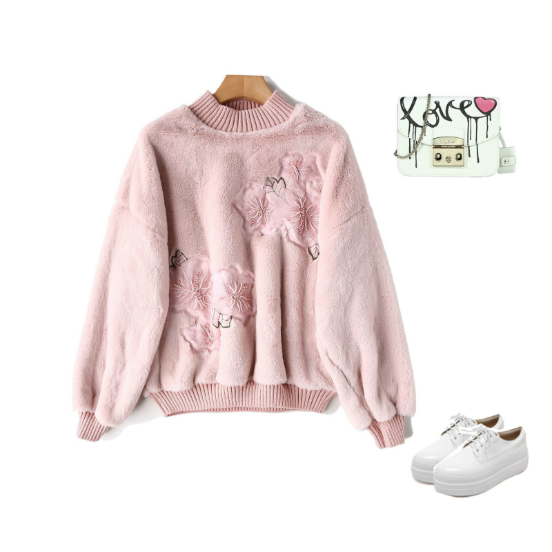 Winter Autumn Women Sweatshirts Hoodies Floral Printed Casual Pullover Cute Jumpers Top Thick Warm Flannel Rabbit Hair Tops S XL in Hoodies amp Sweatshirts from Women 39 s Clothing