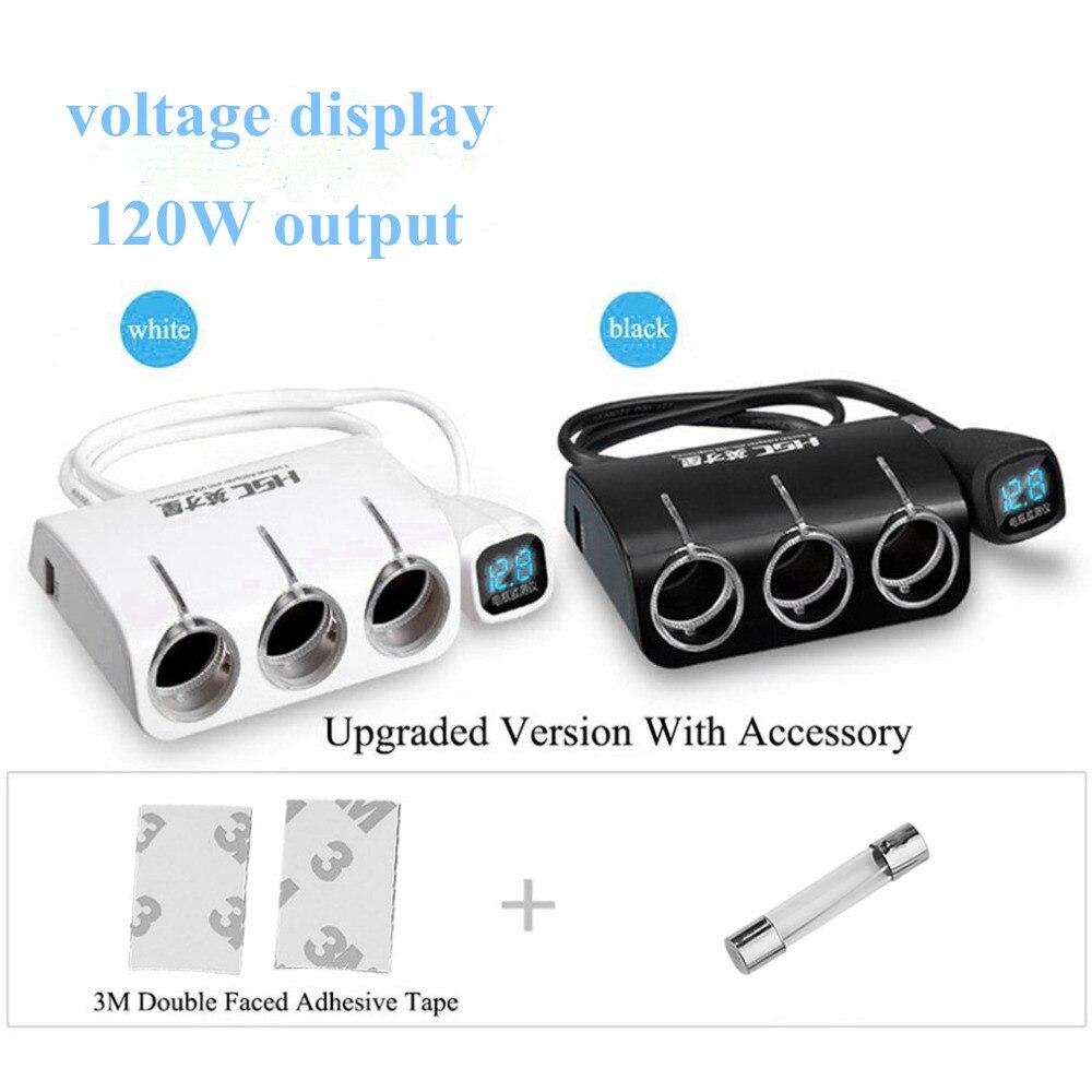 HSC 3 Prises Manière Voiture Auto Allume-cigare Splitter Power Adapter double 2 USB Chargeur De Voiture pour iphone pour samsung/Voiture DVR GPS
