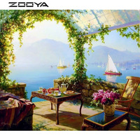 ZOOYA 3D DIY Diamond Embroidery Painting Cross Stitch Mosaic Landscape Flower Sailboat Home Decor Paintings From