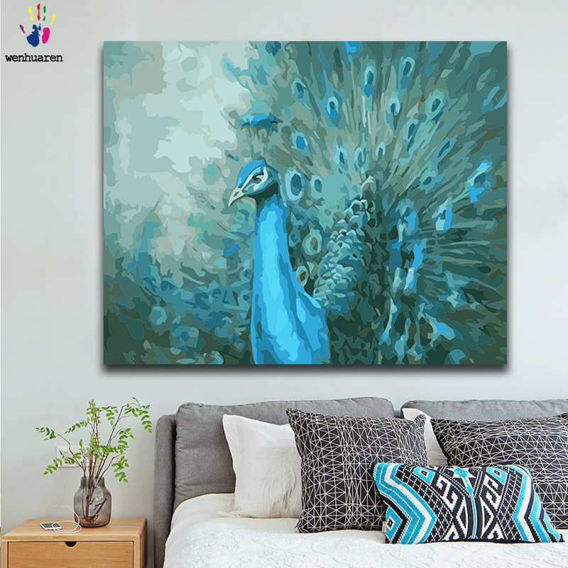 Diy paint by numbers picture coloring by numbers with kits Peacock grace beautiful Living room decorative hanging pictures gift