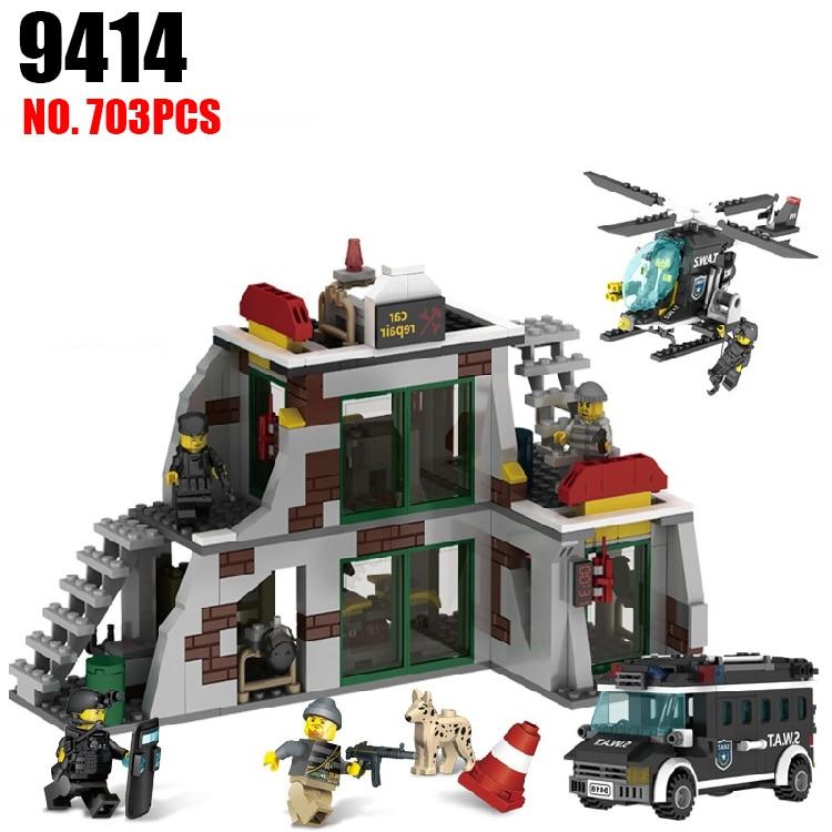 GUDI 9414 The SWAT raid terrorists dens Blocks 703pcs Bricks Building Blocks Sets Models Educational Toys For Children 1351pcs large building blocks sets swat