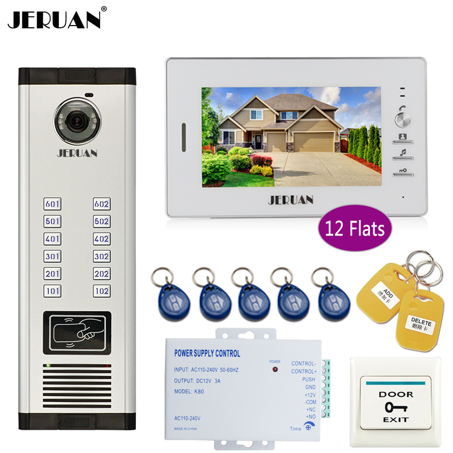 JERUAN 7 Inch LCD Monitor 700TVL Camera Video Door Phone Intercom Access Control Home Gate Entry Security Kit For 12 Apartments