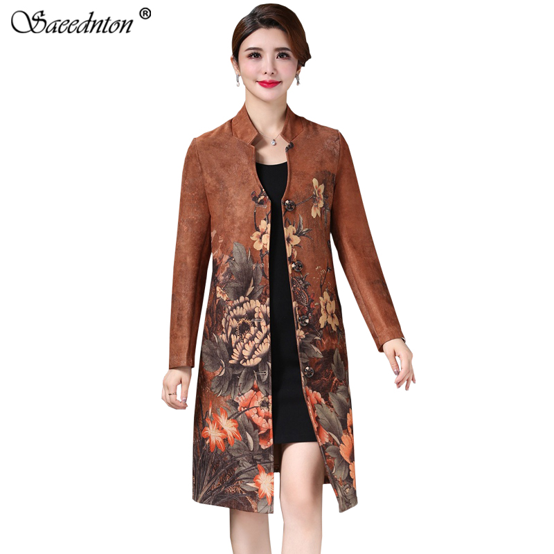 2019 Brand New Women O-neck Collar Floral Print Suede   Trench   Coat Casual Leather Pocket Long Women Autumn Coat Outwear Overcoat