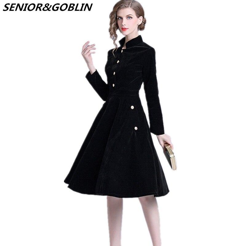 Donne Hepburn Delle Velluto Dell ufficio 2018 Manica Di Lunga Signore  Vestito Del Audrey Eleganti Retro ... 5f21a42cff6