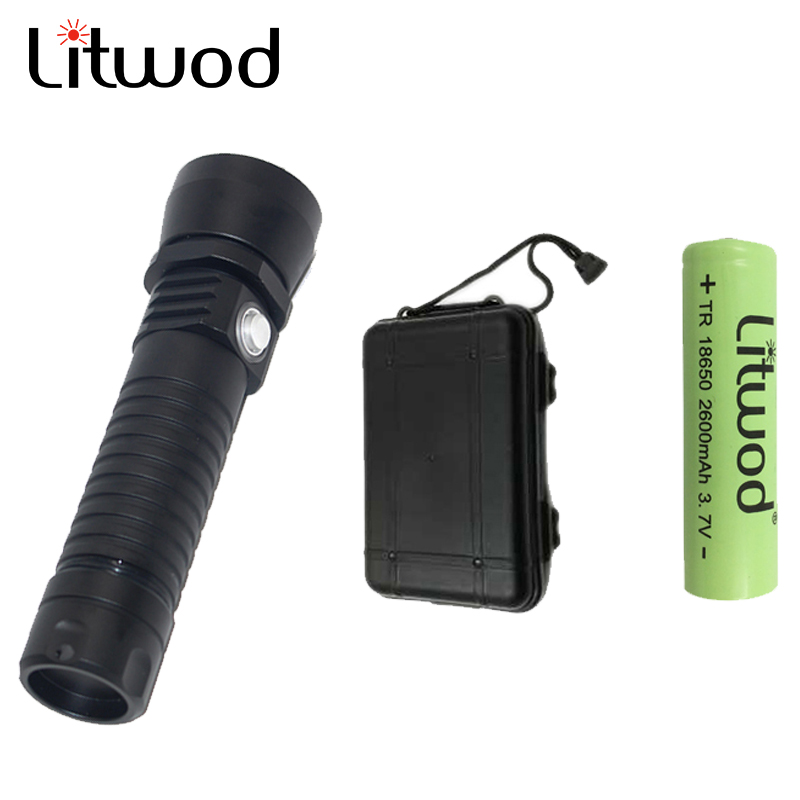 Litwod z35D26 Diving Led Flashlight Torch Light XM-L L2 ON / OFF Stepless Dimming Waterproof Underwater 150m with Battery Box