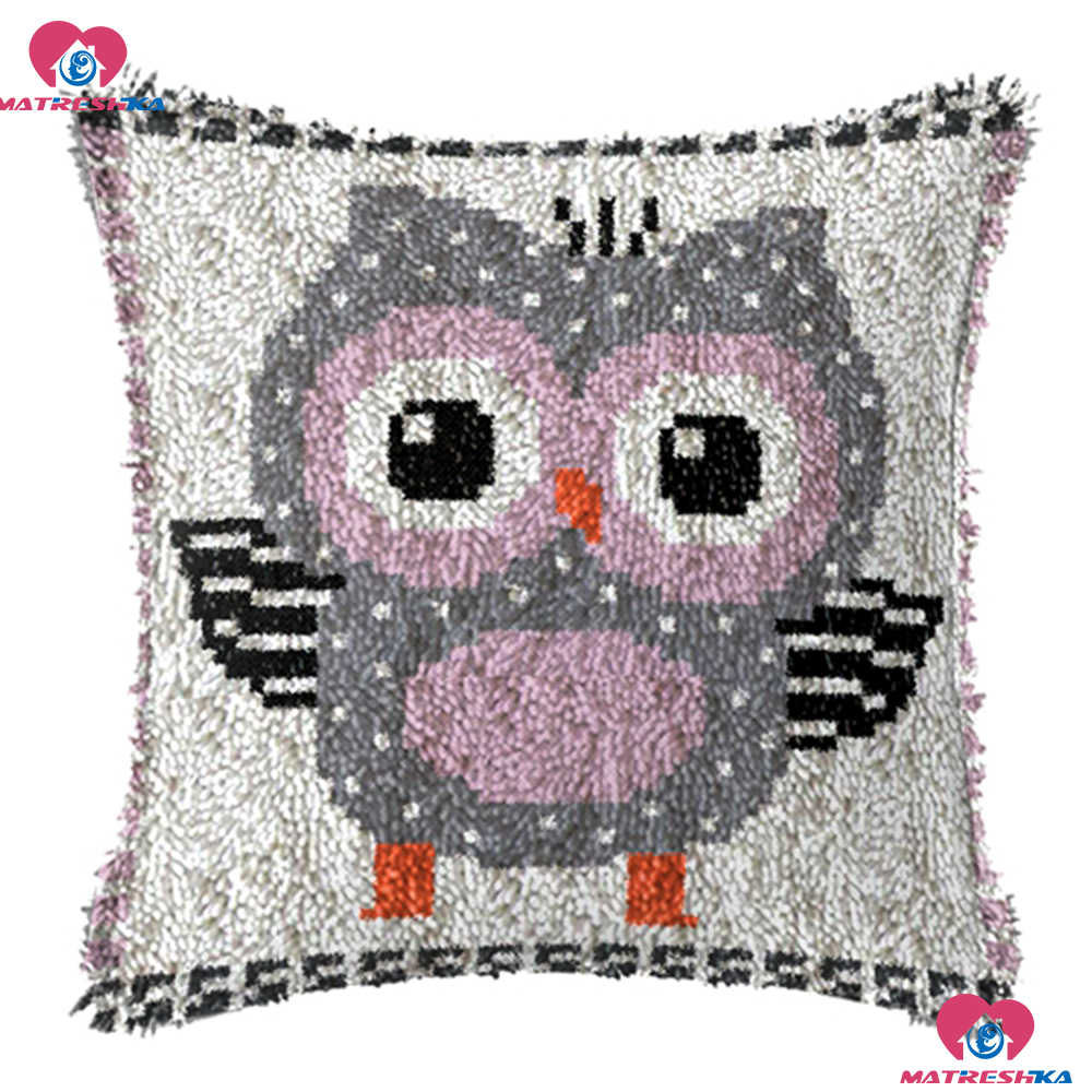 "Latch Hook Kits Embroidery Pillow""owl""do it yourself""home decor Printing Canvas Foamiran for crafts cross-stitch pillow crafts"