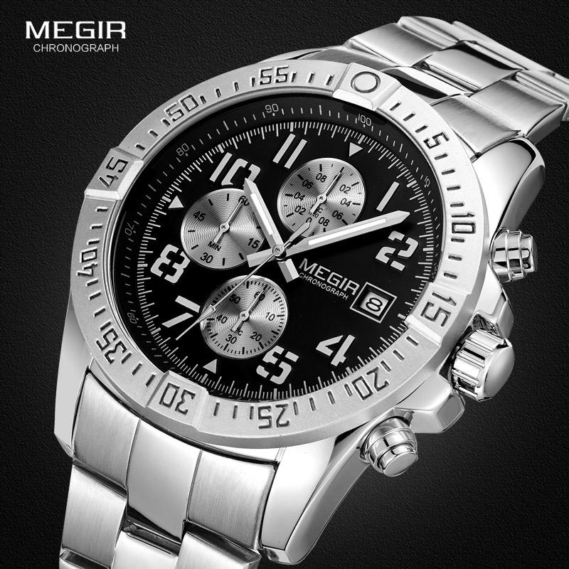 Prix pour Megir Hommes Chronographe En Acier Inoxydable Quartz Montres Mode Étanche Lumineux Cadran Rond Montre-Bracelet pour Homme avec Date M2030