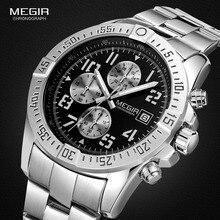 Megir Cronógrafo de Cuarzo de Acero Inoxidable Relojes de Moda A Prueba de agua Luminosa Dial Redondo Reloj de Pulsera para Hombre con Fecha M2030
