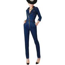 Luxury Top Quality New Fashion Womens Zip Jumpsuits Female Slim Fit Skinny Jeans Rompers Belted Denim