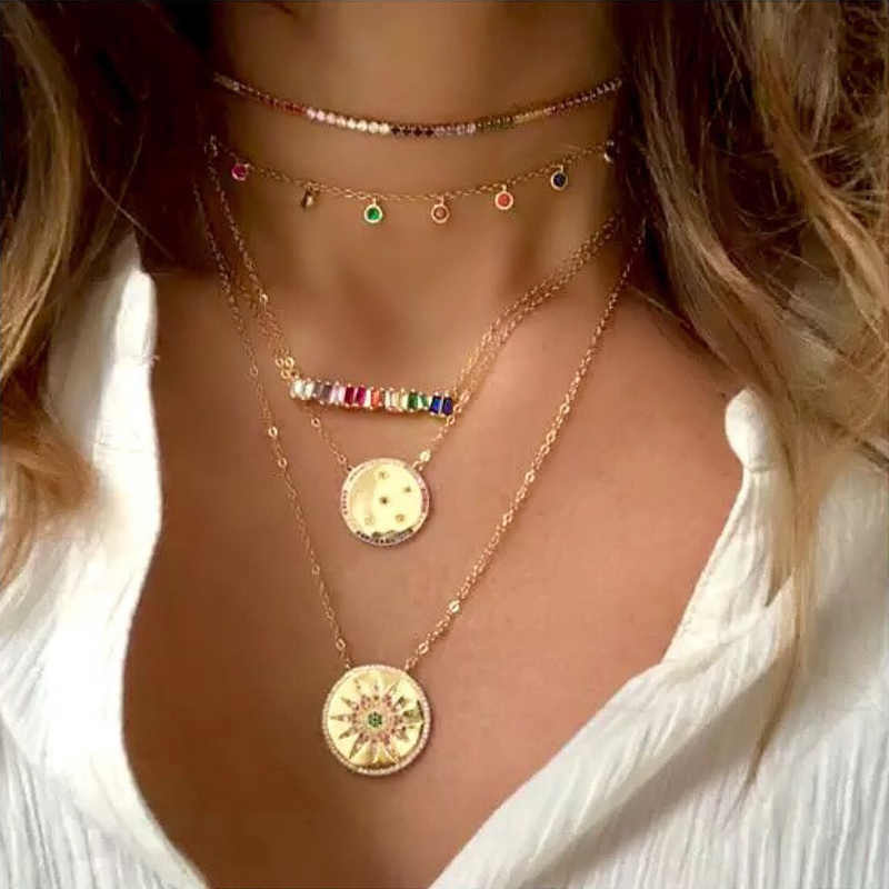 OCERIO CZ Rainbow Necklace Stone for Woman Multicolored Necklace Pendants Fashion Jewelry Rainbow Long Chain Necklace nke-p26