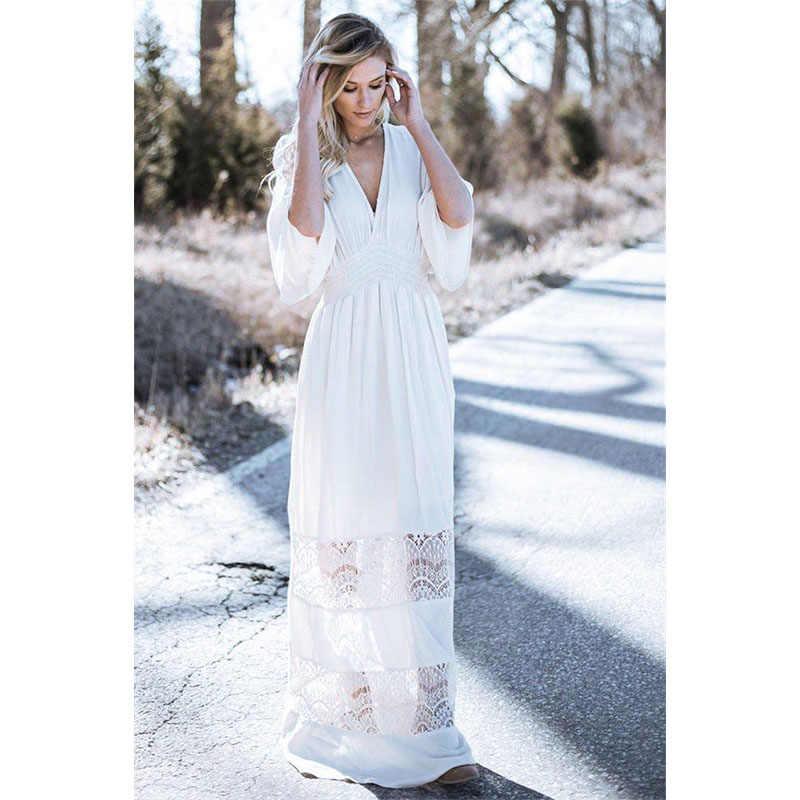 Women Dress Elegant With Sleeve White Lace Dresses For Women 2019 Boho  Dresses Chic Beach Dress ff03e34e26da