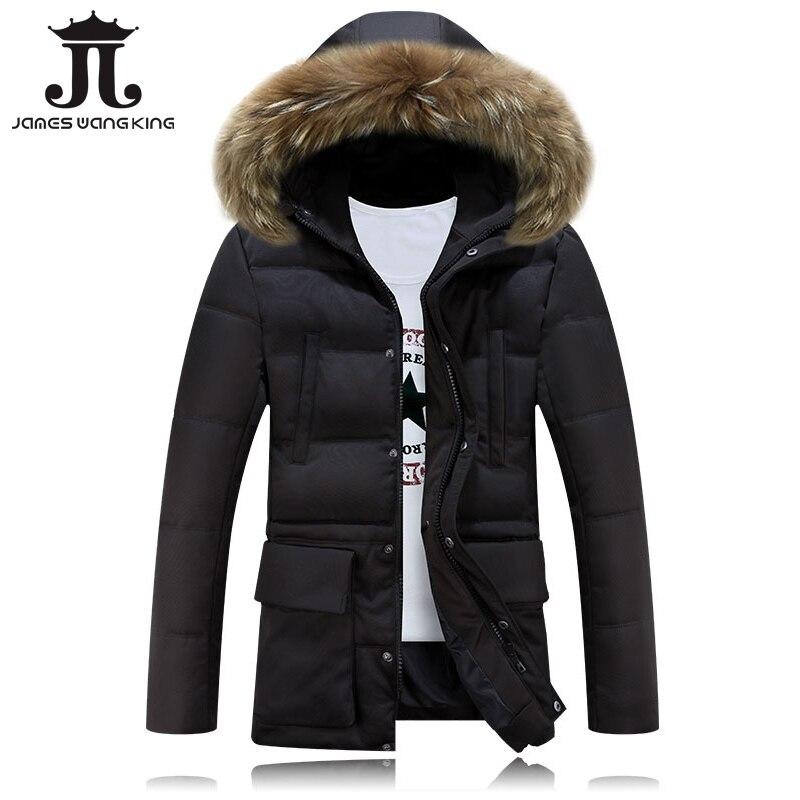 Hot sale winter jacket Men Solid Long Wadded warm Casual coat Slim Fur Hooded Parka Men Outwear jacket and coats 2017 new