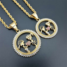 Gold Color Lovers Couple Pendant Necklaces Fashion 2019 Boys Girls Jewelry For Women Stainless Steel Chain