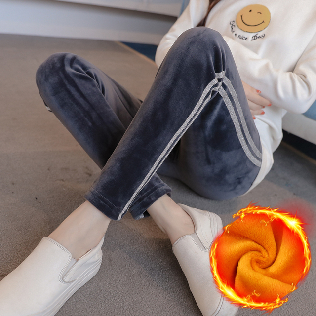 f30b9f04aa43e Winter Maternity Clothes Warm Plus Velvet Leggings Loose Maternity Clothing  For Pregnant Women Cotton Pants Belly Capris