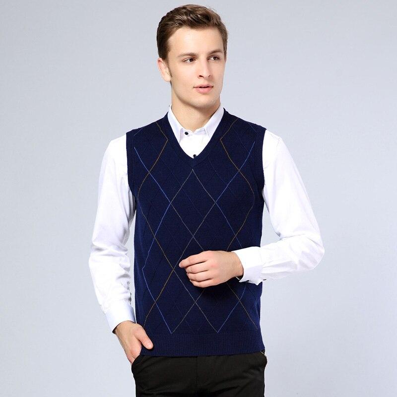 Grevol Neue Ankunft Plaid Pullover Weste Männer Kaschmir Argyle Pullover Wolle Pullover Weste Männer Marke V-ausschnitt Sleeveless Weste 1681 Angemessener Preis