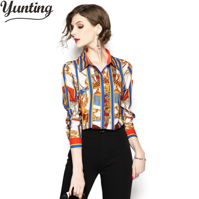 399f4580b66 US $15.29 15% OFF|Women Shirt Long Sleeves Office Work Wear Chiffon Blouse  2019 Fashion Elegant Print Vintage Summer Tops Chemise Femme-in Blouses &  ...