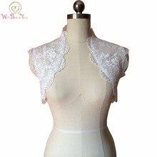 Real Elegant White/ Ivor Sleeveless Lace Wedding Boleros 2017 with Dot Tulle Women Bridal Jackets Accessories Customize