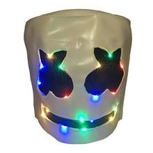 DJ Marshmello Helmet Full Head Cosplay Costume Halloween Music Festival Parties LED Light Up Latex Masks