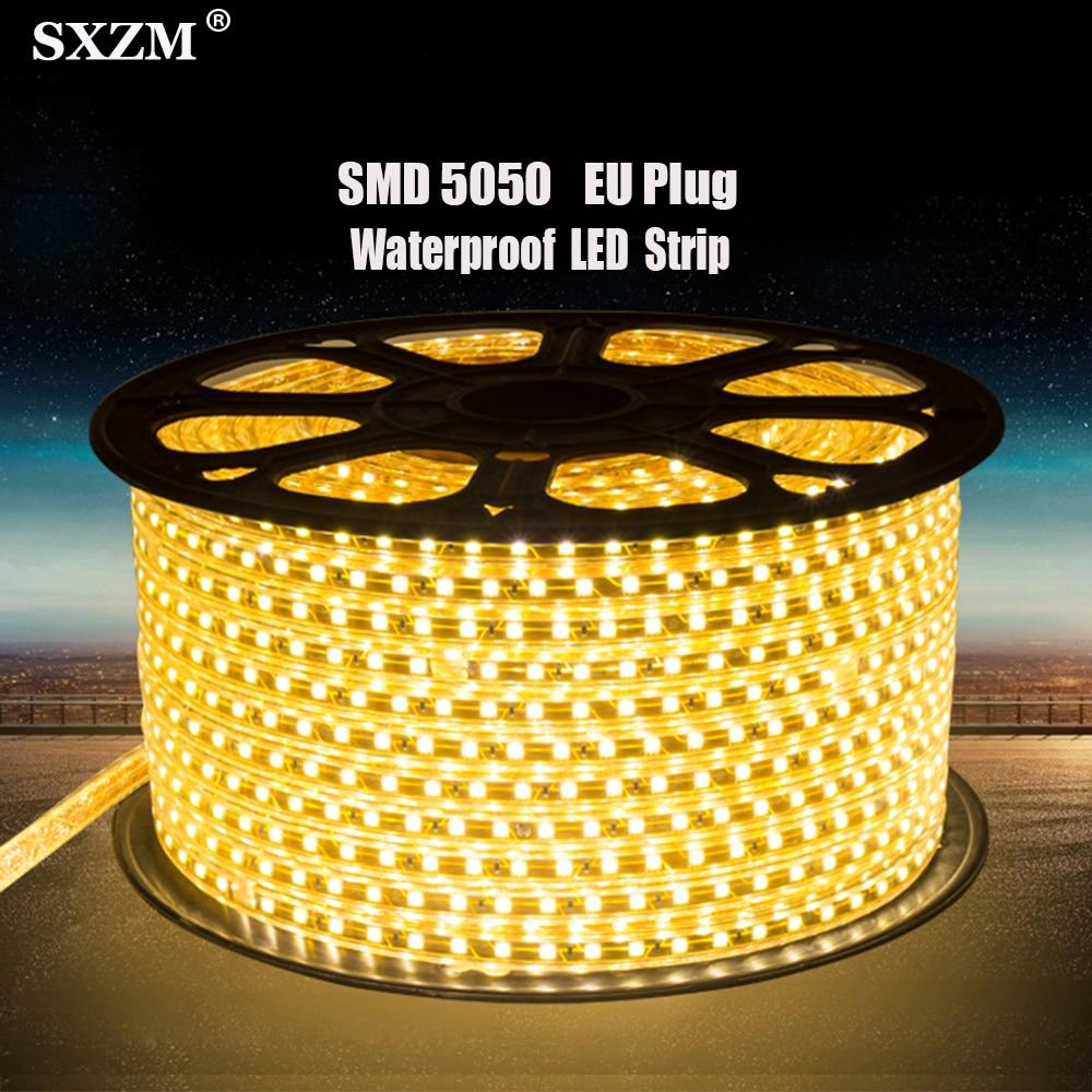 SMD 5050 LED Strip Flexible Light 60leds/m Waterproof Led light AC220V EU Power Plug 1M/2M/3M/4M/5M/6M/8M/9M/10M/15M/20M/25M