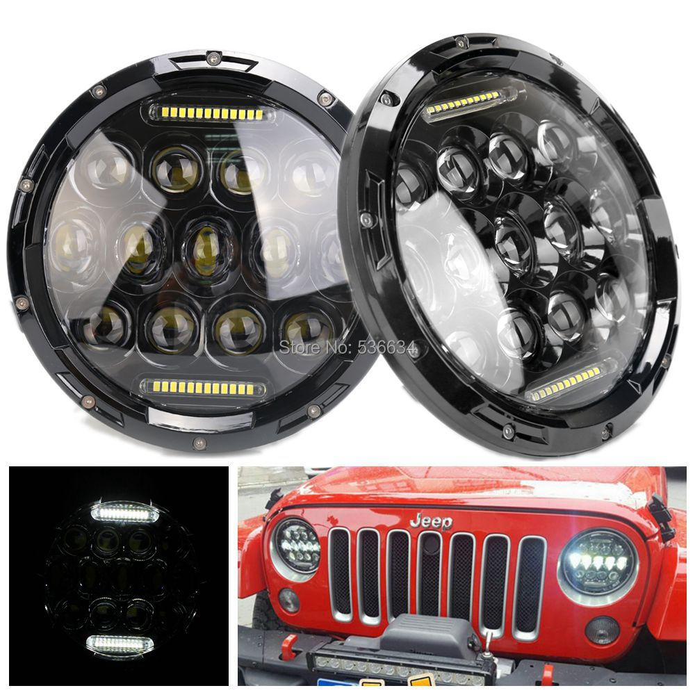 1pair 75W Black 7inch Round Projector Daymaker LED Headlights H4 Hi/Low Beam Auto For Jeep Wrangler LJ Unlimited JK windshield pillar mount grab handles for jeep wrangler jk and jku unlimited solid mount grab textured steel bar front fits jeep