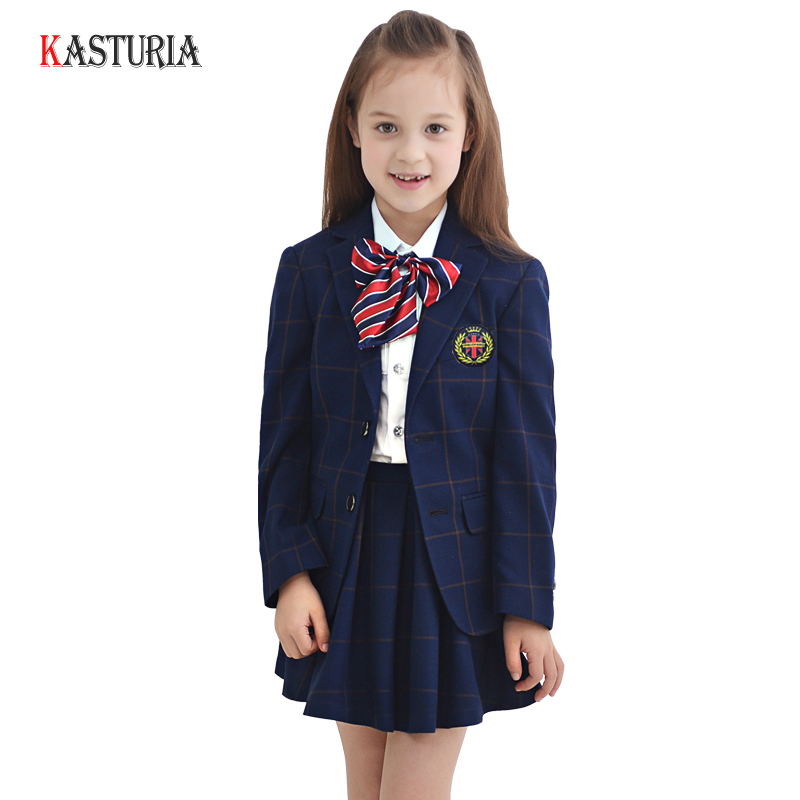 5pcs High Quality girls suit clothing sets plaid kids clothes formal coat uniform student campus girl jackets party costume брюки женские oodji ultra цвет темно синий 11703094 45859 7900n размер 42 170 48 170
