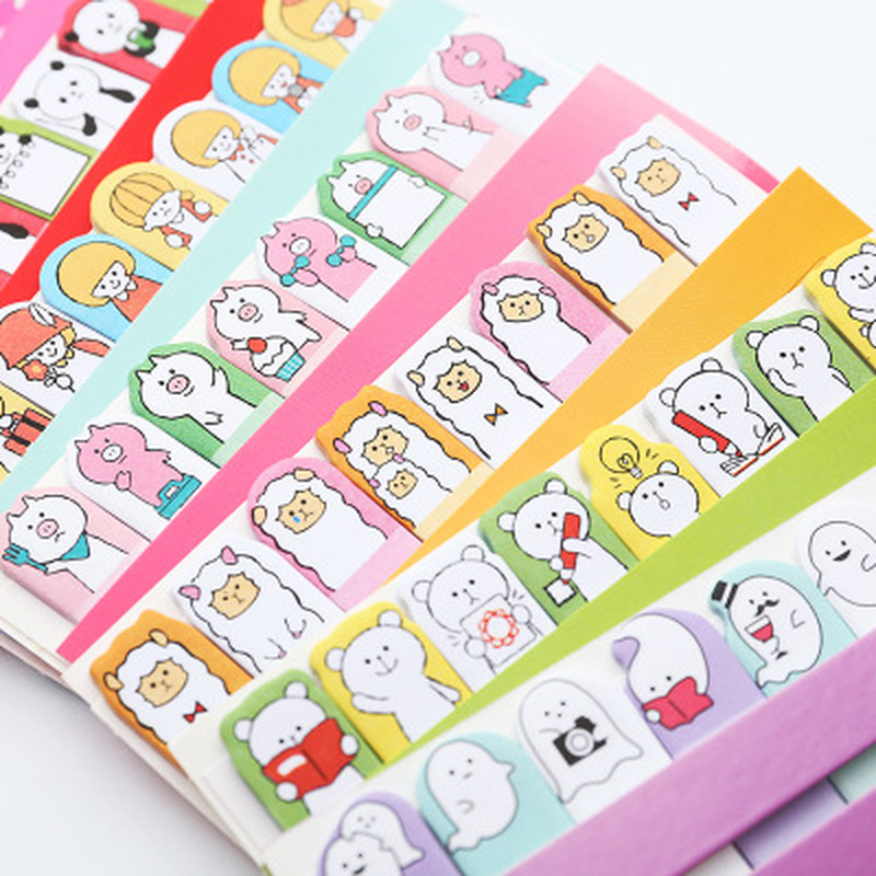 Memo Pad Cute Stationary Kawaii Cartoon Sticky Notes Rowing Scratch PadStudent Stationery Message Sticker School Office Supplies