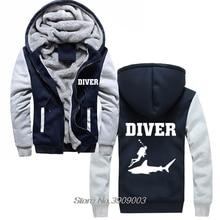 ขายร้อนหนา Diver เสื้อฉลามดำน้ำ Scuba Diver Sea วันเกิดดำน้ำตื้น Flippers Hoodies Harajuku Streetwear