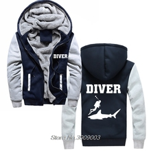 Hot Sale Thick Diver Sweatshirts Shark Fish Scuba Diver Sea Birthday Present Snorkle Flippers Hoodies Jacket Harajuku Streetwear