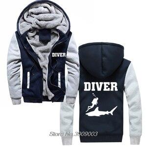 Image 1 - מכירה לוהטת עבה צולל חולצות כריש דגים Scuba Diver ים יום הולדת הווה Snorkle סנפירים נים מעיל Harajuku Streetwear