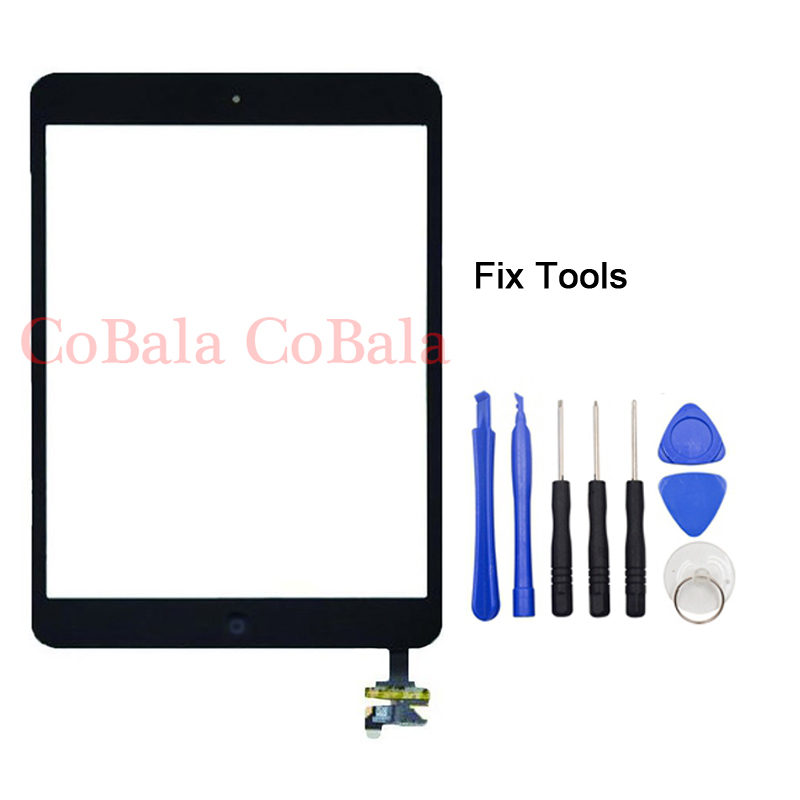 1Pcs White Original For iPad Mini 1 2 mini2 mini1 7.9 LCD Outer Touch Screen Digitizer With IC Chip Connector Home Button+Tools bqt replacement glsss screen for ipad mini1 mini2 touch screen digitizer without ic with tape parts 100