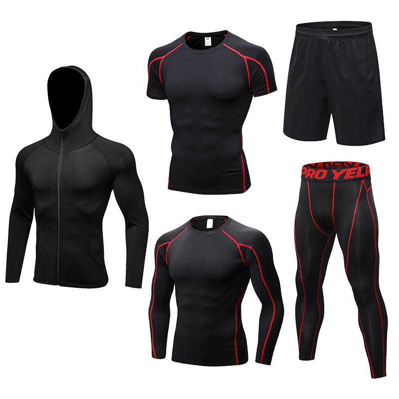 2019 New Men s Running Sets 5pcs sets Compression Sport Suits Basketball Training Tights Clothes Gym