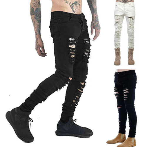 HI-Q Pop Stylish Pleated Patchwork Men Classic Slim Denim Trousers Whisker Jeans