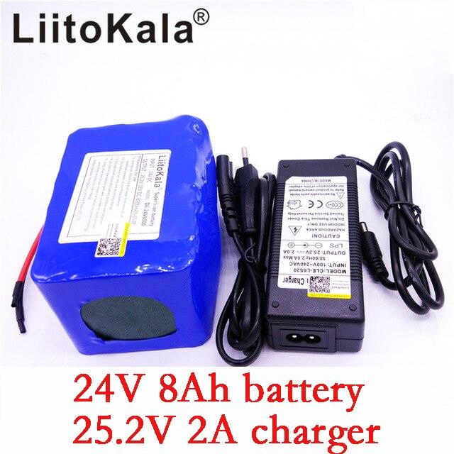 LiitoKala 24 v 8Ah batterie au lithium 25.2 v 8000 mAh li-ion fauteuil roulant batterie pack DC pour 250 w vélo électrique moteur + 2A chargeur