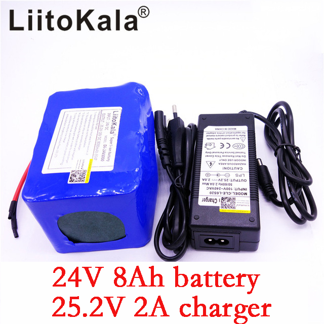 LiitoKala 24v 8Ah lithium battery 25.2v 8000mAh li-ion wheelchair battery pack DC for 250w electric bicycle motor+2A charger free customs taxes high quality skyy 48 volt li ion battery pack with charger and bms for 48v 15ah lithium battery pack