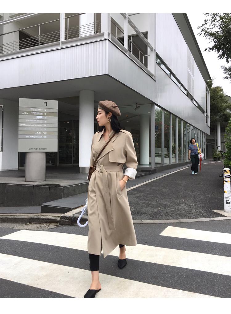 Spring Autumn Maxi Long Women's Loose Trench Coat With Belt Khaki & Black Plus Size Korean Style Windbreaker Outwear 17