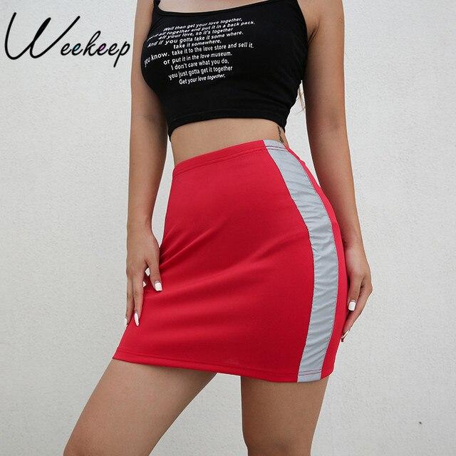 ea02d5cdb412 Weekeep Women High Waist Side Patchwork Skirt Sexy Bodycon Elastic Waist Pencil  Skirts 2018 Streetwear Red Mini Skirt Bottom