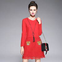 2017 New Casual Autumn Women Dress Lovely Bear Pattern Full Sleeve Above Knee Length Dress Lace Patchwork Red Ladies Vestidos