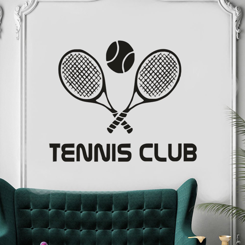 Vinyl Sticker Tennis Club Wall Decal Racquet Sport Home Interior Design Wall Art Decor Removable Tennis Sports Wall Mural AY1138