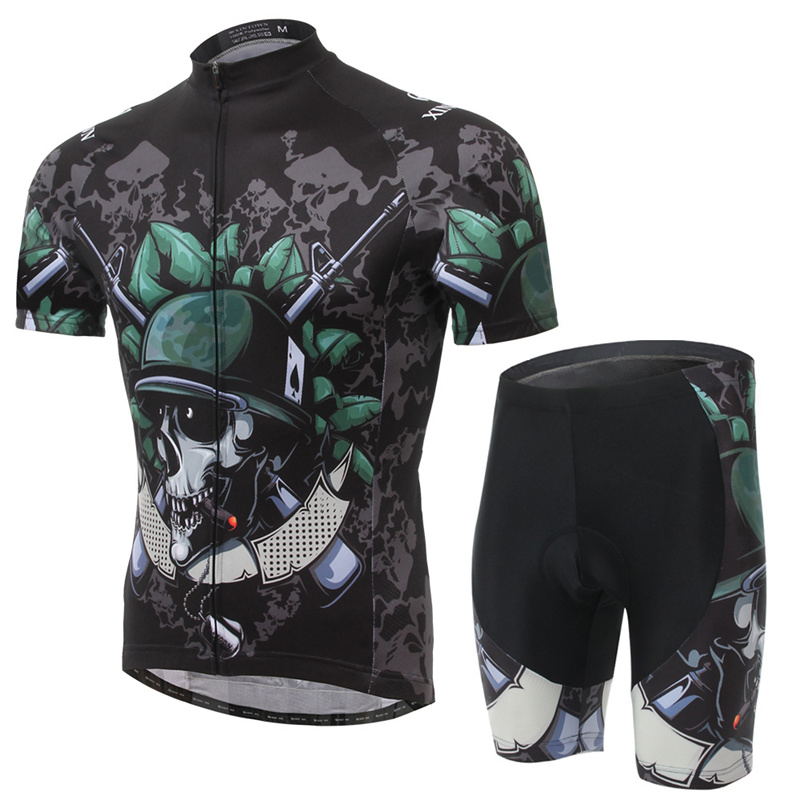 XINTOWN New Arrival Cycling Sets Polyerter Men Womens Cycling Clothing Jacket+Pants Skull Print Absorption Sweat Cycling Sets