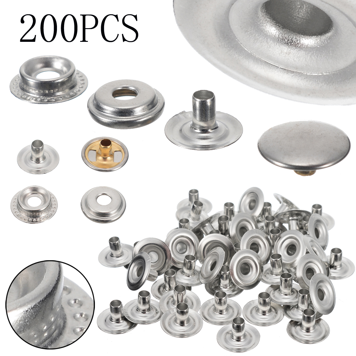 For Snap Fasteners Tent Boat 200Pcs Screw Kits Cap Screws Marine Silver 15mm