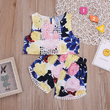 Baby Girls Clothes Toddler Kid Baby Girls Outfits Clothes Flower Print Tassel Vest Shirt+Shorts Set Girls Outfits Summer 2019 cheap Children Sets Fashion COTTON Polyester Sleeveless Floral O-Neck REGULAR Pullover Fits true to size take your normal size