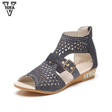 Vtota Bing женские сандалии женская летняя обувь на молнии Сандалии Женская обувь на платформе открытый носок женская обувь на низком каблуке LGQY01